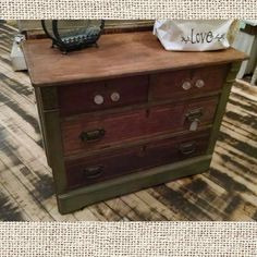 Upcycled dresser.  Distressed sage green and stained. $224.99 #cherisheverymoment #homedecor #upcycling