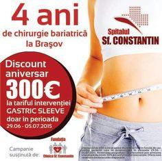 Aniversăm 4 ani de chirurgie bariatrică la Braşov. Cu această ocazie, oferim 300 euro discount tuturor celor care se programează săptămâna viitoare!
