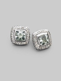 David Yurman - Diamond, Prasiolite & Sterling Silver Button Earrings - Saks.com