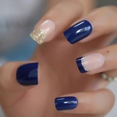 Glossy Blue French Nail Mix Glitter Medium Natural Press On Fingernails Pre-designed Acrylic Manicure Tips with Gluetabs,Nail Art Blue Nail Designs, French Nail Designs, Acrylic Nail Designs, Nail Designs For Toes, Shellac Nail Designs, Gel Nagel Design, French Tip Nails, Glitter French Tips, Dipped Nails