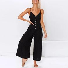 Sexy Suspender Button Closure With Solid Color Jumpsuit – Nanolovely Cool Outfits, Summer Outfits, Summer Clothes, Jumpsuit Dressy, Jumpsuit Outfit, Daily Fashion, Style Fashion, Fashion Prints, Outfits