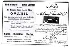 Bith Control means to insure Blind Love Risk. Ovanil. Which assures the public that it insures this blind risk in such an easy and quite harmless way. - Ad for contraceptive pills published in FilmIndia Magazine, August, 1943. Join us at http://www.turtok.com/