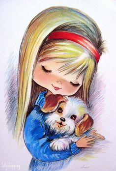 ♥ sweet retro greeting card - girl with dog
