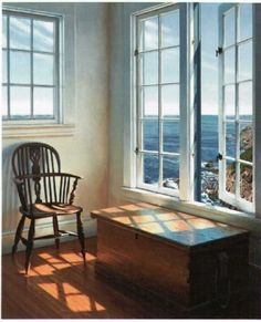 Solstice    by Edward Gordon. I want to live here!  I already have a chair like this.  I just need the cottage by the sea.