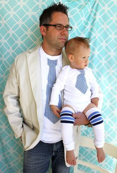 NEW Father's Day Son Set of 3.  Tie Shirt for Daddy, Tie Onesie for Baby, & Leg Warmers. Spring Wedding, Summer Fashion. $50.95, via Etsy.