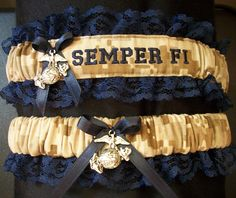 US Marine set with Semper Fi embroidered on it and with an EGA charm on both garters. $28.00, via Etsy.