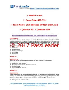 2017 PassLeader 400-351 Dumps with VCE and PDF (Question 101 - Question 150)