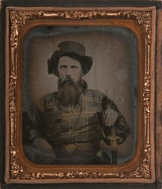 Sixth Plate Ambrotype of Confederate Infantry Officer, Possibly from the 11th Mississippi InfantryThe gilded hat insignia, which looks to be a star ornament was very common among early Mississippi troops and is documented in numerous early war...