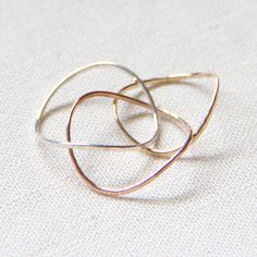 Three Solid 14k Gold Rings  Rose Gold  White Gold  by MARYJOHN, $103.00