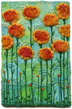 Kirsten's Fabric Art - Glasgow Roses, Orange