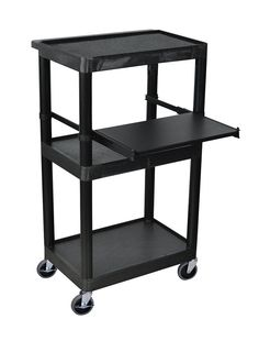 Luxor LT45-B Luxor Black 3 Shelf Endura Presentation Cart