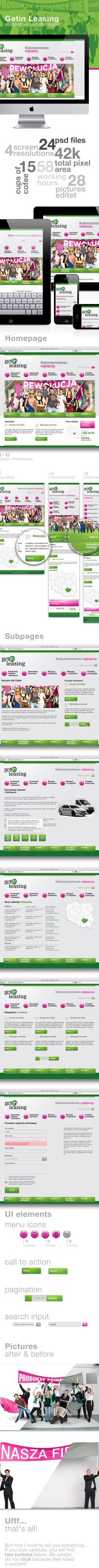 Getin Leasing responsive website layout by Patryk Ciacma, via Behance