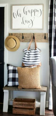 apartment foyer decorating idea - love this for a small foyer. would look great in a condo at the beach!