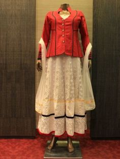 Red and Cream Net Suit With Resham Embroidery Work
