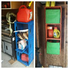 Turn old crates into shelves for the shed