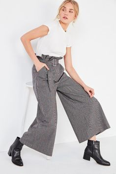 plaid wide leg pants high waist with paper bag waist detail, paper bag waist pants products, latest fashion trends for women chic
