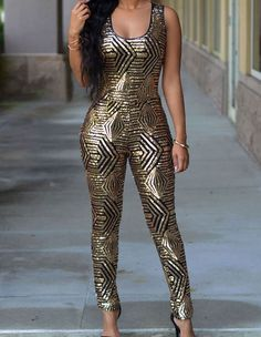 Black And Gold Sequined Geometric Pattern Bodysuit Women Tank Jumpsuit