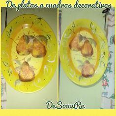 DeSouVre: DIY- de platos a cuadros decorativos Decoupage, Mexican, Tableware, Ethnic Recipes, Food, Favorite Color, Dish Sets, Dishes, Manualidades