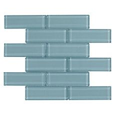 $8.99/sqft Pure Spa Blue Brick Glass Mosaic
