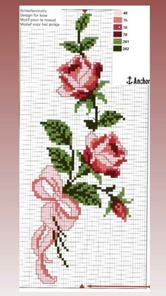 Cross Stitch Bookmarks, Cross Stitch Art, Cross Stitch Designs, Embroidery Applique, Embroidery Stitches, Crochet Handbags, Rose Bouquet, Small Flowers, Hello Kitty