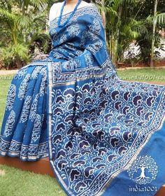 Elegant Indigo Chanderi Saree with Dabu Block Printing