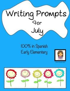 Fun spanish writing prompts, 100% in Spanish for early elementary! $