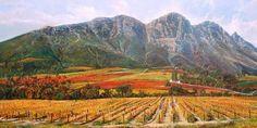 Oil Painting - Simonsberg by Errol Norbury African Art Paintings, Original Paintings, South African Artists, Artist Gallery, Art Portfolio, Artist Painting, Online Art, Landscape Paintings, Vineyard