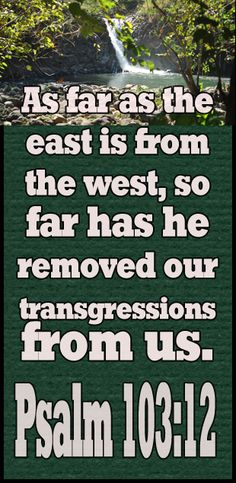 As far as the east is from the west, so far has he removed our transgressions from us.   - Psalms 103:12