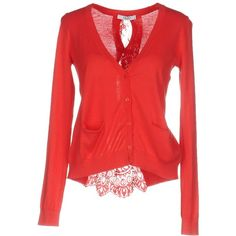 Liu •jo Jeans Cardigan ($99) ❤ liked on Polyvore featuring tops, cardigans, coral, long sleeve tops, lace v neck top, light weight cardigan, red long sleeve top and lacy cardigan