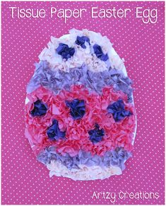 Tissue paper Easter egg art project that I did with Emma. Easy, fun, and turns out really cute. Great craft for Easter! Easter Arts And Crafts, Easter Projects, Easter Crafts For Kids, Toddler Crafts, Art Projects, Collage Magazine, Tissue Paper Crafts, Egg Art, In Kindergarten