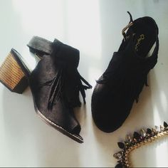 Love me some fringe peep toe bootie Brand new Never been worn Comes in original box Many more sizes available  This style runs big. I would suggest going down a full size. Shoes Ankle Boots & Booties