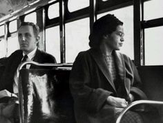 Rosa Parks on bus in 1955... Heroes!!  artist unkown