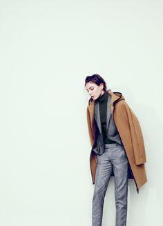 J.Crew    stadium-cloth hooded zip coat and Maddie pant in glen plaid.