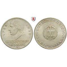 Weimarer Republik, 3 Reichsmark 1929, Lessing, A, vz-st, J. 335: 3 Reichsmark 1929 A. Lessing. J. 335; vorzüglich-stempelfrisch, kl.… #coins
