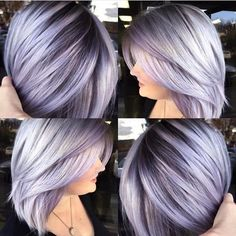 Silver lavender hair color with dark base and layered bob haircut