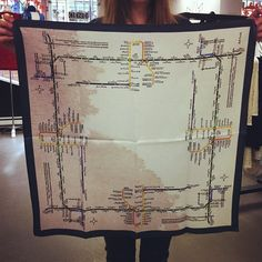 Silk Square TTC Map Scarf