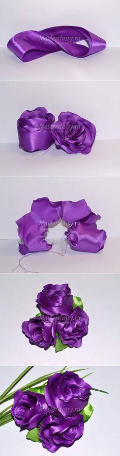 Фиолетовые цветы из лент. Пошаговый мастер-класс с фото
