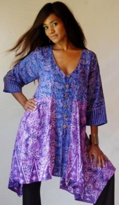 BLUE PURPLE TOP JACKET BUTTON EMPIRE ASYM BATIK COMBO - FITS - PLUS 2X 3X 4X - A822S - LOTUSTRADERS LOTUSTRADERS. $52.99