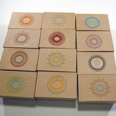 What a unique and clever idea!   Stitched spirograph boxes by papermode, via Flickr