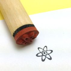 Atomic Rubber Stamp  Energy Symbol  atom by RADstamps on Etsy, $3.40