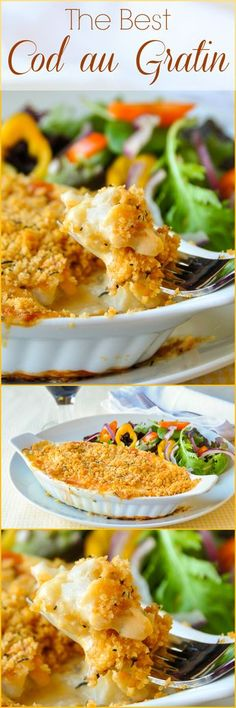 The best recipe for Cod au Gratin you will find. A real Newfoundland favourite dish. Some may balk at the suggestion of fish(Fish Recipes) Best Cod Recipes, Cod Fish Recipes, Rock Recipes, Most Popular Recipes, Seafood Recipes, Cooking Recipes, White Fish Recipes, Healthy Fish Recipes, Baked Cod Recipes