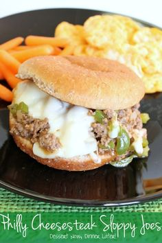 Philly Cheesesteak Sloppy Joes: 1 lb ground beef 1 Tbsp olive oil 1 small onion, chopped 1 green pepper, chopped 1 Tbsp cornstarch 1 cup beef broth 1/4 cup A-1 steak sauce 2 tsp peppercorn steak seasoning (not the red steak seasoning, the minced garlic & peppercorn kind like McCormick Montreal Steak Seasoning) 1/4 tsp salt 1/4 tsp ground black pepper Sliced Provolone or Mozzarella Hamburger Buns