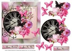 Time For You Topper with Decoupage on Craftsuprint designed by Barbara Hiebert - This card topper has a large clock with pink flowers and pink butterflies for the decoupage layers.This card topper's meaning is for you to take time out of your busy schedule, and to sit back and enjoy that cup of coffee, or tea and smell the flowers.This is a would make a great card for a person just retiring, or is always busy doing things for others, and needs to hear that it's okay to take time for ...