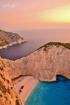 Sunset at Smugglers Cove in Zakynthos.