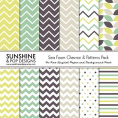 INSTANT DOWNLOAD - Chevron Digital Scrapbook Paper Pack - Chevron Polka Dot Patterns for scrapbooking, decorations, invitations, backgrounds via Etsy