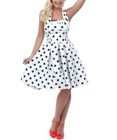 Black & White Polka Dot Flirty Halter Dress