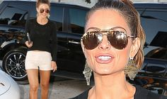 Maria Menounos shows off her legs in a pair of tiny white shorts