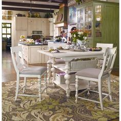 Paula Deen Home Kitchen Gathering Table in Linen Finish