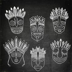 Set of African Ethnic Tribal masks on white background. — Stock Illustration Set of African Eth African Drawings, Tribal Drawings, African Art Paintings, Tribal Art, Abstract Paintings, Madhubani Art, Madhubani Painting, Mask Painting, Fabric Painting