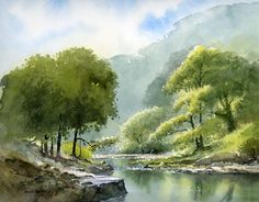 Summer River, watercolour by Daivd Bellamy Watercolor Water, Watercolor Landscape Paintings, Watercolor Trees, Landscape Drawings, Nature Paintings, Landscape Art, Art Aquarelle, Painting Courses, Summer Landscape